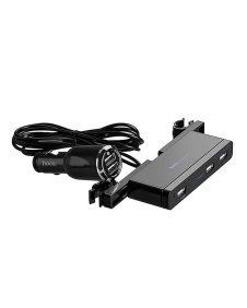 Hoco - UC501 autó fejtámlára rögzíthető szivargyújtó elosztó központ 3+2xUSB (8A) - fekete