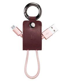 Hoco - UPM19 kulcstartó formájú micro USB adat/töltő kábel 15 cm - rozéarany