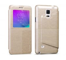 Hoco - Crystal series fashion bőr magnetic sleep Samsung Note4 könyv tok - arany
