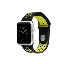 Silicon series lélegző sport szíj apple watch 42mm - fekete/neonzöld